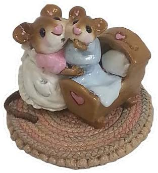 Wee Forest Folk M-069 Beddy-Bye Mousey Pink Mom Blue Baby