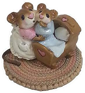 product image for Wee Forest Folk M-069 Beddy-Bye Mousey (Pink Mom & Blue Baby)
