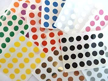 12mm Plastic Vinyl Coloured Dot Stickers Self Adhesive Round Sticky Labels