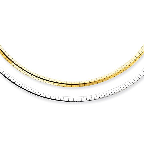 Jewelry Necklaces Omega Necklaces 14k 4mm Reversible White and Yellow Domed Omega Necklace