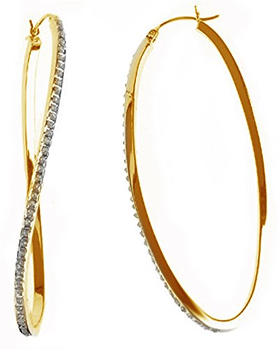 White Natural Diamond Wave Hoop Earrings In 14K Yellow Gold Over Sterling - 14k Gold Earring Wave Design