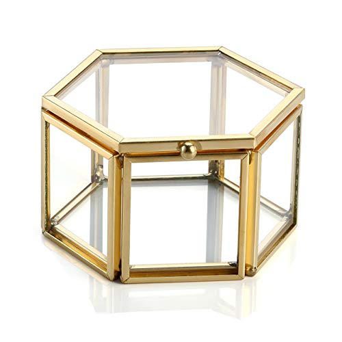 Jovivi Gold Copper Clear Glass Lid Terrarium Box/Bracelet Necklace Earrings Ring Jewelry Display Organizer Decorative Box Case Home Office ()