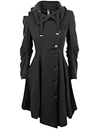 Ivan Johns Warm Long Medieval Trench Coat Women Winter Black Stand Collar Gothic Coat Elegant Women