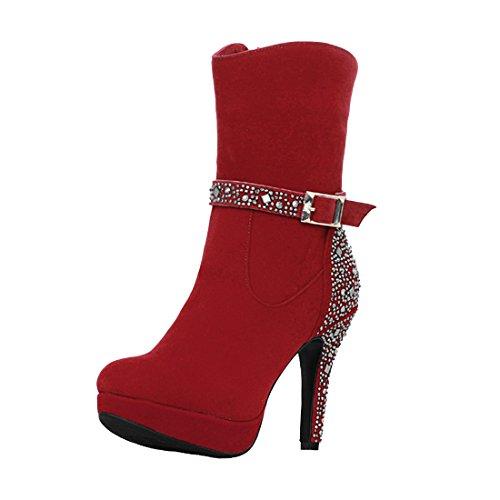 Avec Femmes Suede Sexy Rouge Chaussures Talons Strass Haut Fourrure Plateforme Aiguilles Chaud Bottines À Uh Et qwdIvtZfnq