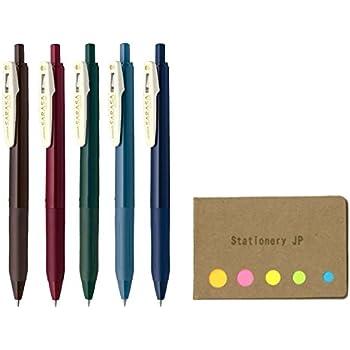 Zebra Sarasa Clip 0.5 Retractable Gel Ink Pen, Rubber Grip, 0.5 mm, Vintage Colors, 5 Color Ink, Sticky Notes Value Set