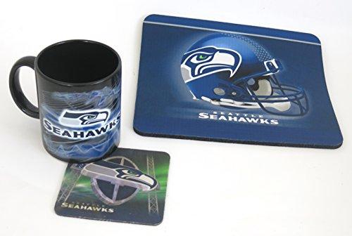 Wide Set Workstation (Seattle Seahawks Computer workstation set, set includes a mouse pad, coaster and a large 15 oz coffee mug)