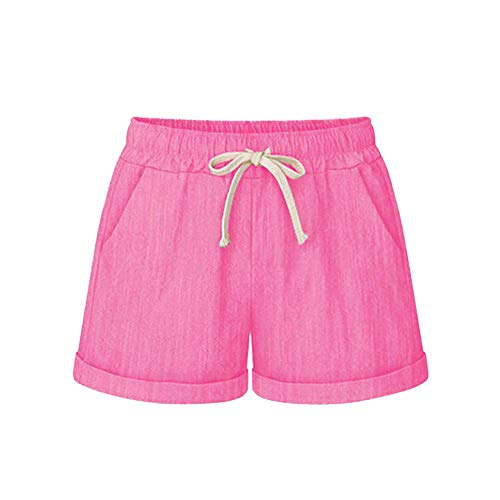 Women Short Pants, JOYFEEL ❤️ Ladies Cotton Linen Casual Elastic Waist Pants Drawstring Solid Summer Walking ()