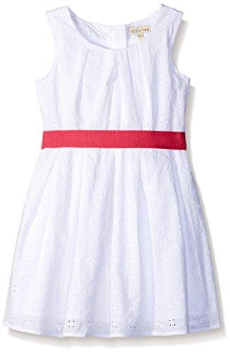 Girls White Eyelet Dress - Scout + Ro Big Girls' Eyelet Dress With Contrast Belt, White, 8