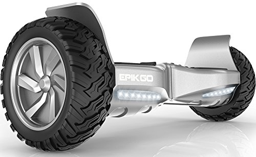 EPIKGO Self Balancing Scooter Hover Self-Balance Board - UL2272 Certified, All-Terrain 8.5' Alloy Wheel, 400W Dual-Motor, LG Battery, Board Hover Tough Road Condition [Classic Series Elite Silver]