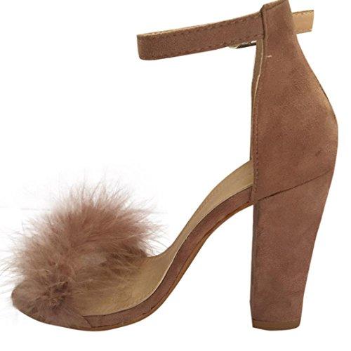 Xjp Women's Summer Shoes Block High Heel Sandals Khaki W5b2xkZ2