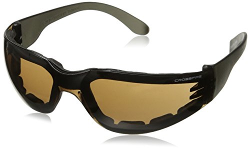 Crossfire 546 Shield Foam Lined Crystal Black Frame Safety Sunglasses with HD Brown - Lined Foam Sunglasses