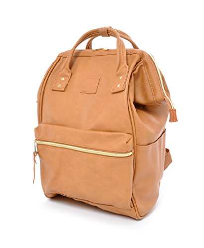 Anello Leather Square Shaped Backpack (Camel Beige)
