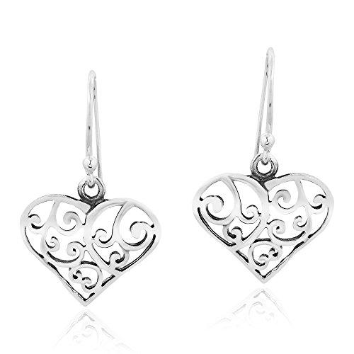 Vintage Style Open Swirl Heart .925 Sterling Silver Dangle Earrings ()