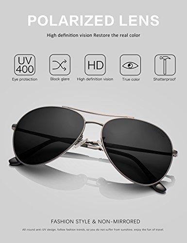 LUENX femme Aviator Lunettes de soleil polarisées avec étui - UV 400 Miroir de protection Bleu lunettes Argenté monture 60mm doG2Wr5Dm
