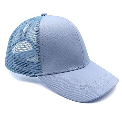 Womens Ponytail Messy High Buns Trucker Ponycaps Plain Baseball Visor Cap Dad Hat Adjustable Snapback ()