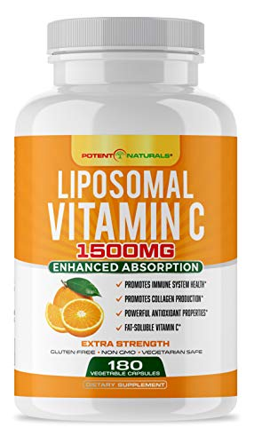 Liposomal Vitamin C 1500mg 180 Vegan Capsules by POTENT NATURALS - Fat Soluble Vitamin C, High Absorption, Collagen Booster, Antioxidant & Immune Support, Anti-Aging Pills, Non GMO - Lypo spheric