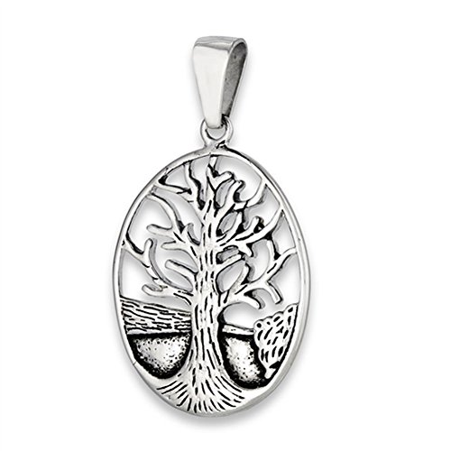 Landscape Background Tree of Life Pendant Nature Oval Detailed Charm - Silver Jewelry Accessories Key Chain Bracelet Necklace Pendants