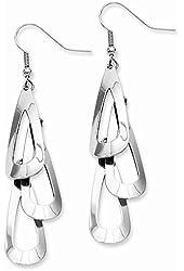 Stainless Steel Polished Multiple Teardrop Dangle Earrings