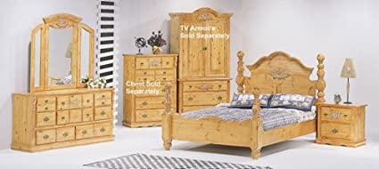 5pc Solid Pine California King Size Bed Complete Bedroom Set