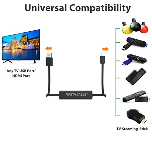 USB Fire TV Stick Power Cable, Liootech Fire Short Cable to TV USB Port Compatible with Amazon Fire TV, Roku Streaming Stick, Chrome Stick and Other Streaming Media Player by Liootech (Image #3)