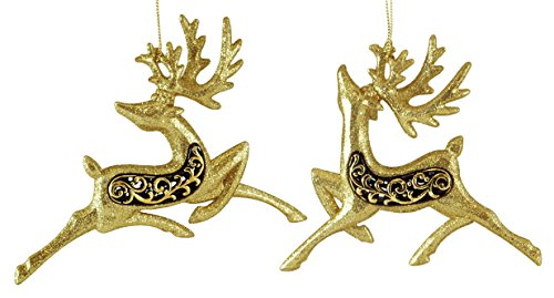Prancing Deer (Prancing Reindeer Gold & Black Hanging Christmas Ornament Set of 2)