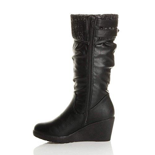 Ajvani Womens Ladies mid Wedge Heel Contrast Knitted Cuff Buckle Zip Calf Boots Size Black Matt 87pEVDb5