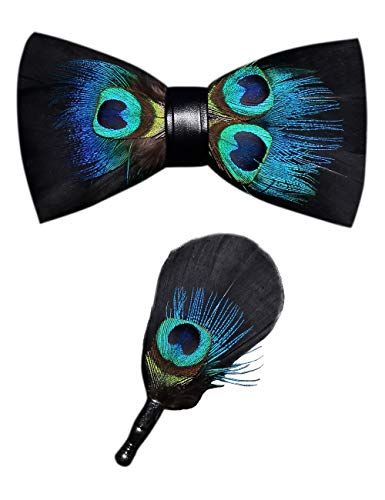 RBOCOTT Mens Handmade Feather Pre-tied Bow tie and Brooch Sets (peacock blue/black)