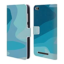 Official Magdalena Hristova Blue 5 Clean Lines 2 Leather Book Wallet Case Cover For Xiaomi Redmi Note 4