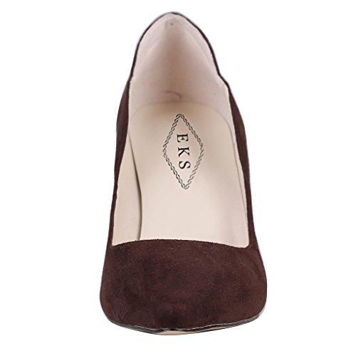 Braun EKS Wildleder Zapatos Marrón Mujer de Tacón Dark xrwY0rdI