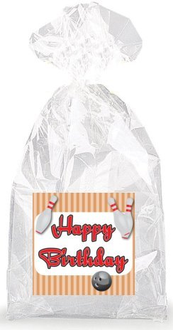 Bowling Happy Birthday Party Favor Bags with Ties - (Bowling Birthday Party Favors)