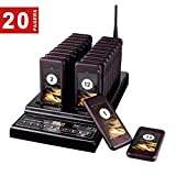 Baile Wireless Calling System Restaurant Pager/Guest Waiting Pager with 20pcs Coaster Pagers and 1pc Call Button Keypad Transmitter