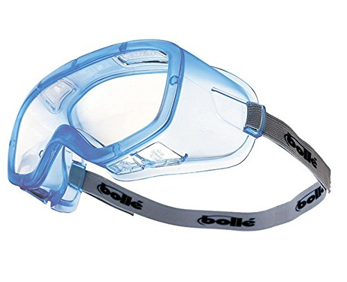 Bollé Safety 254-CL-40100 Coverall Safety Goggles with Translucent Blue PVC Frame and Clear Ventilated Anti-Fog Lens, 180-Pair