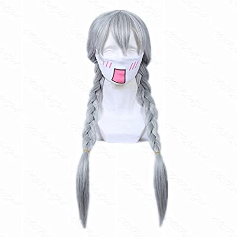 COSPLAZA Cosplay Wig Long Silver White Braided Girl Animation Party Hair