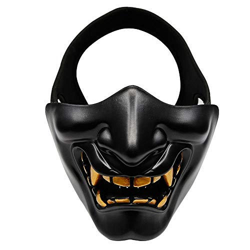 Halloween Monster Face Mask (FOONEE Half Face Mask, Halloween Costume Cosplay BB Evil Demon Monster Kabuki Samurai Hannya Oni Half Cover Airsoft and Prop Mask - One Size Fits)