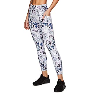 RBX Active Women's Super Soft Peached Floral Print Squat Proof Running Yoga Ankle Length 7/8 Legging with Pockets Floral S20 S