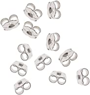 BeadaholiqueCA 12-Piece Sterling Earring Backs, 5.5mm, Silver