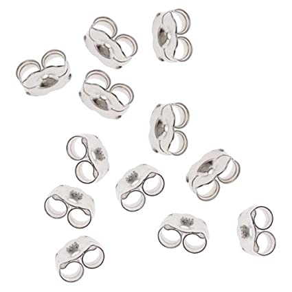 Beadaholique 5005150 12-Piece Sterling Earring Backs, 5.5mm, Silver