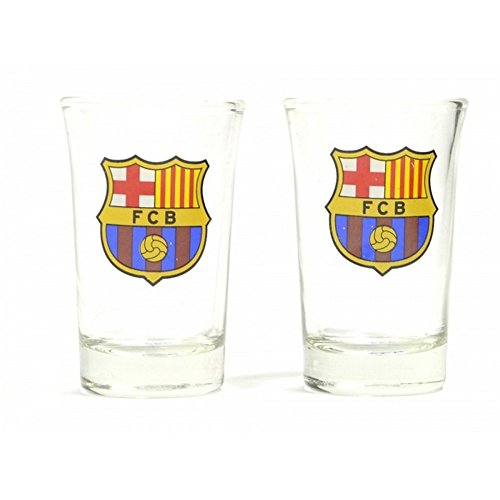 (FC Barcelona Shot Glasses (Pack of 2) (One Size) (Clear))