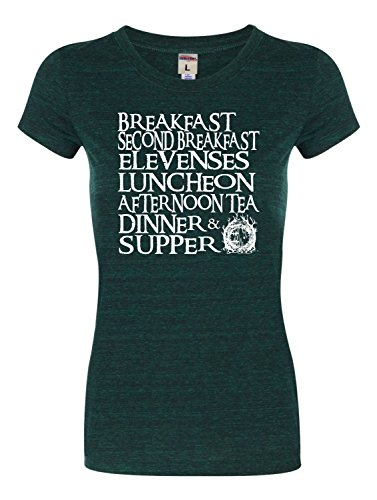 XX-Large Emerald Womens The Seven Daily Hobbit Meals Tri-Blend T-Shirt