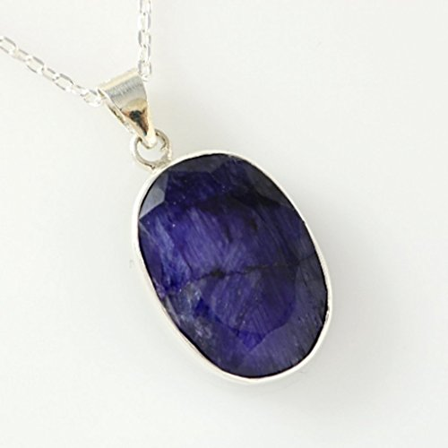 Sterling Silver Genuine Oval Faceted Blue Sapphire Handmade September Birthstone Pendant 18+2'' - Sapphire Genuine Blue Gem Oval
