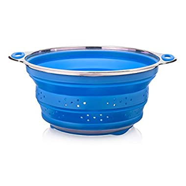 Oberhaus Premium Collapsible Silicone Colander/Strainer with Stainless Steel Base (Available Colors: Red, Blue and Green) (Blue)