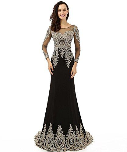 LiCheng Bridal Women's Appliques Rhinestones Mermaid Long Sleeve Evening Dress Black US12