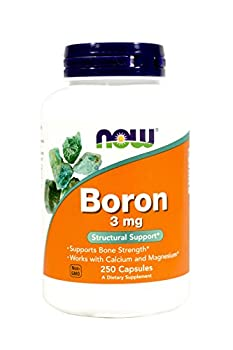 NOW  Boron, 3 mg, 250 Capsules (Pack of 2)