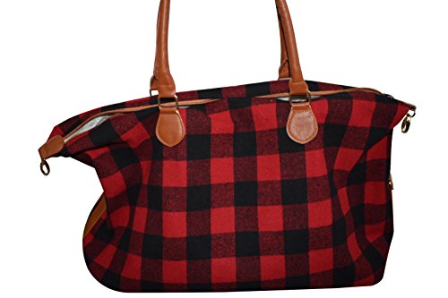 - Monogrammed Buffalo Plaid Red and White Weekender Travel Bags (Red)