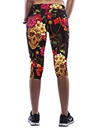 Ninimour- Women's 3D Digital Print Workout Capri Leggings Fitted Stretch Tights