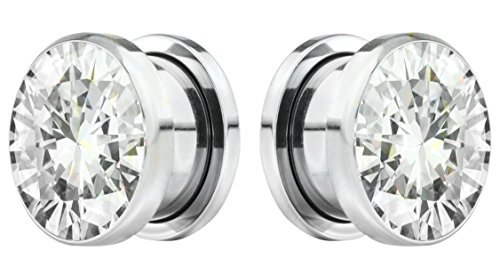 Forbidden Body Jewelry 19mm (3/4 Inch) Surgical Steel Screw Fit CZ Center Tunnel Plug Earrings (Plugs 19mm Body Jewelry)
