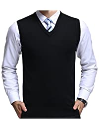 FULIER Winter Mens Gilet V-Neck Sleeveless Vest Business Gentleman Knitwear Tank Tops