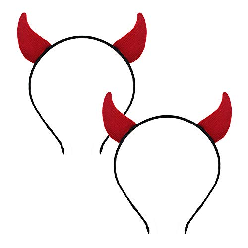 Halloween Devil Headband Devil Horn Ears Hair Clips Sequin Hair Hoops Red Fluffy Women Girls Party Decoration Cosplay Costume Headwear Handmade Headpiece Headdress Hair Bands Accessories 2 Pack Red -