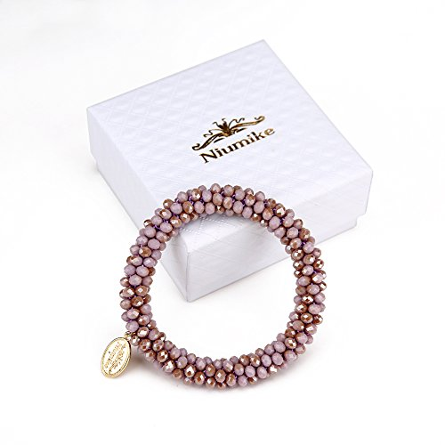 Niumike Braided Crystal Bracelets For Women,100% Hand-Made Seed Beaded Stretch Bracelet, Box (Purple) ()