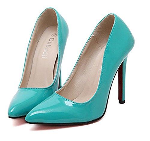 Scarpe Basse Easemax Da Donna Stiletto Punta Tinta Unita Slip On Slip-d-orsay Scarpe Con Tacco Alto Blu